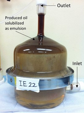 produced oil solubilized as emulsion