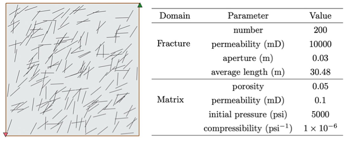 reservoir model and parameters of test